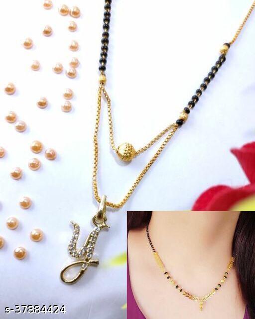 Brass Designer Gold Plated Alphabet Mangalsutra With Free Gift