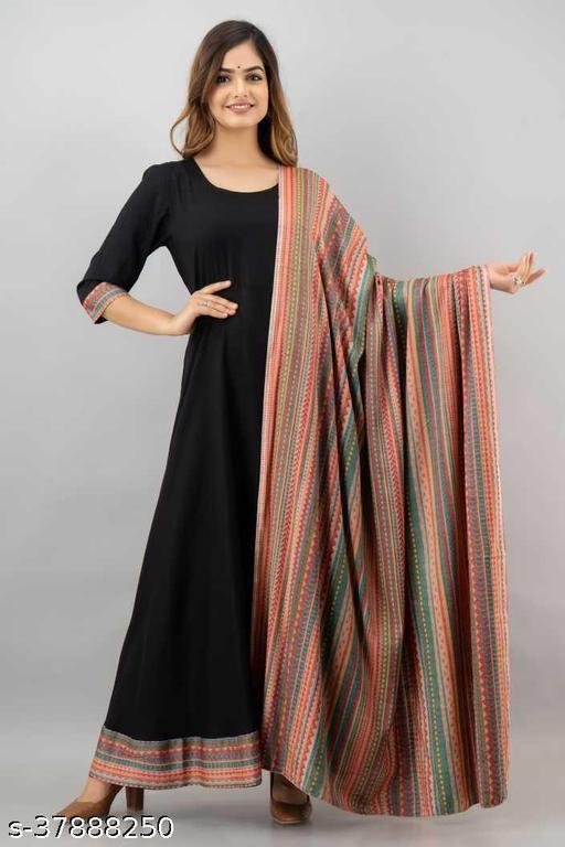 Women's  Reyon Black Full Gown