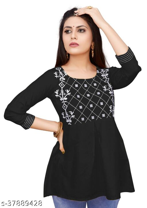 Women's Partywear Embroidered Rayon 3/4 Sleeve Top