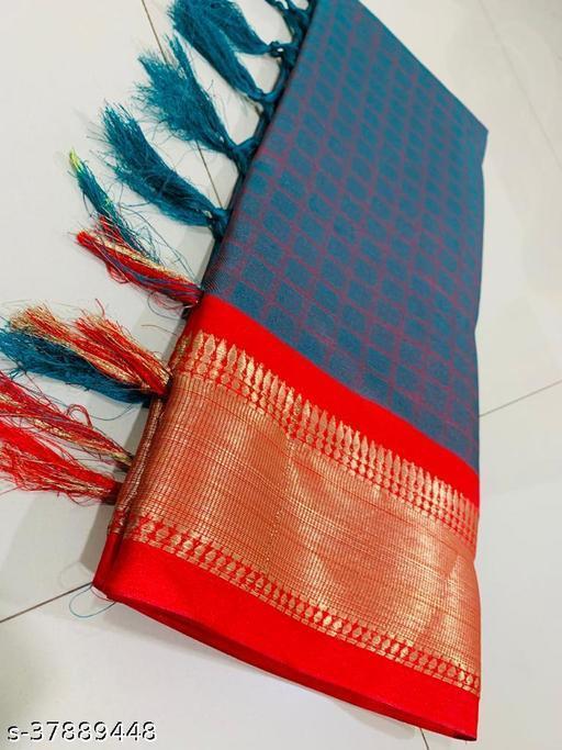 Kapil Fashion Teal Soft Cotton Silk Saree With Blouse