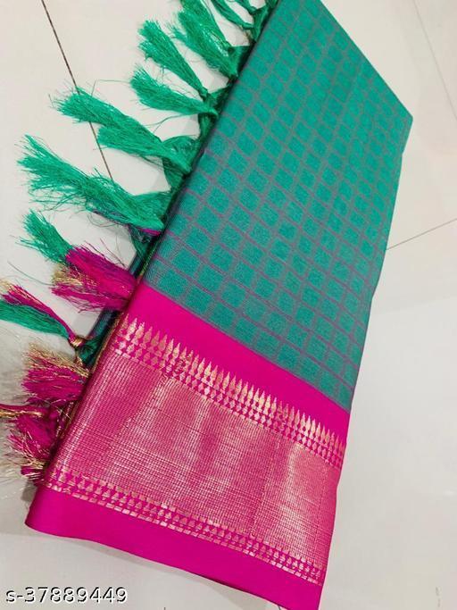Kapil Fashion Green Soft Cotton Silk Saree With Blouse