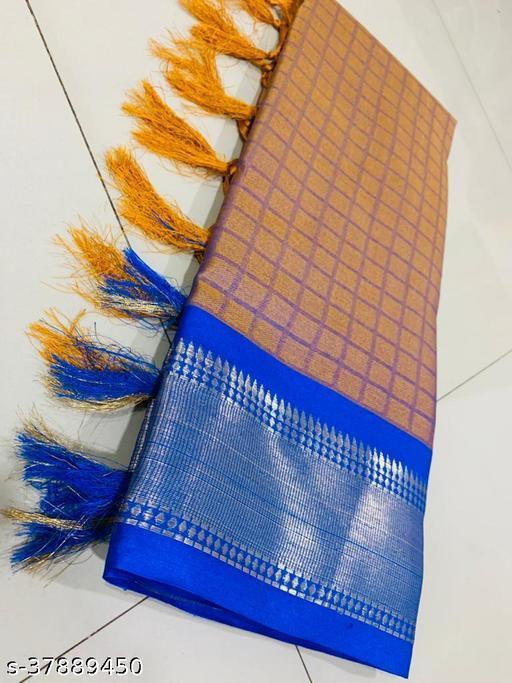 Kapil Fashion Yellow Soft Cotton Silk Saree With Blouse