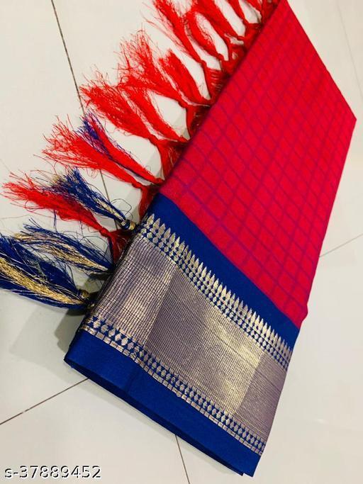Kapil Fashion Red Soft Cotton Silk Saree With Blouse