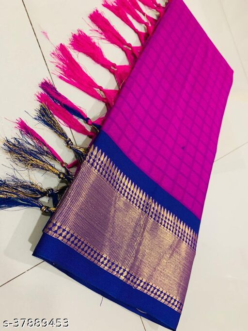 Kapil Fashion Purple Soft Cotton Silk Saree With Blouse