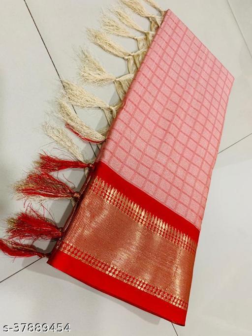 Kapil Fashion Peach Soft Cotton Silk Saree With Blouse