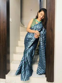 Laheja Embellished, Striped Leheria Silk Blend Saree(Grey, Green)