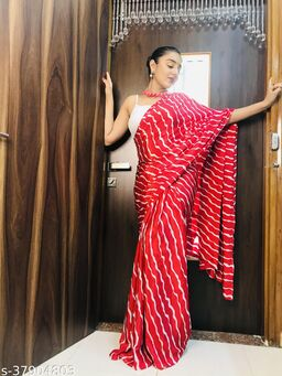 Laheja Embellished, Striped Leheria Silk Blend Saree