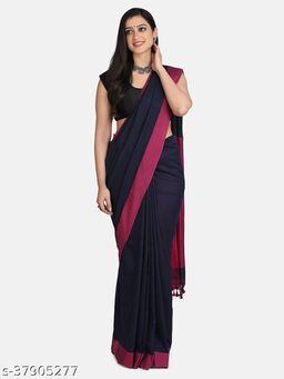 Navy Blue Plain Work Khadi Cotton Handloom Saree With Blouse
