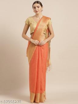 Kalasati Orange Pure Linen Solid Bhagalpuri Saree