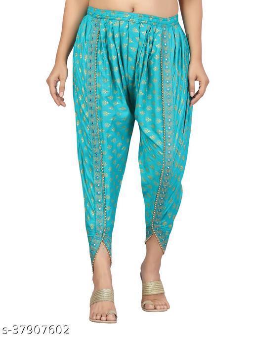 Aarika Women'S Firozi Colored Dhoti Pants With Hand Block Print (Free_Size)