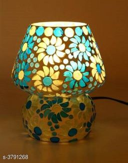 Multicolor Hand Decorative With Colorful Beads & Chips Glass Table Lamp