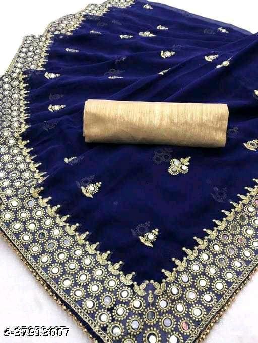 heavy embroidery work with mirror work georgette silk saree
