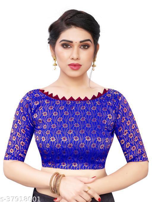 Brocade Unstitched Blouse Material Jacquard Woven Embroidery Work 1 Meter for Lehenga,Kurti Plain ,Satin Saree