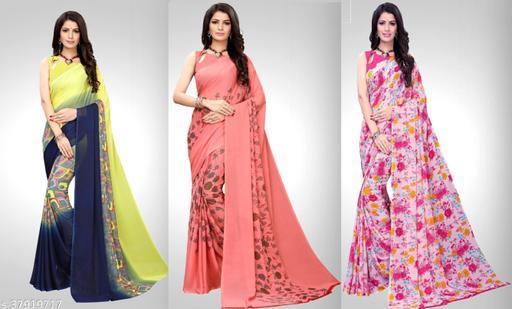 Georgette Multicolor Printed Saree Pack of 3 Saree