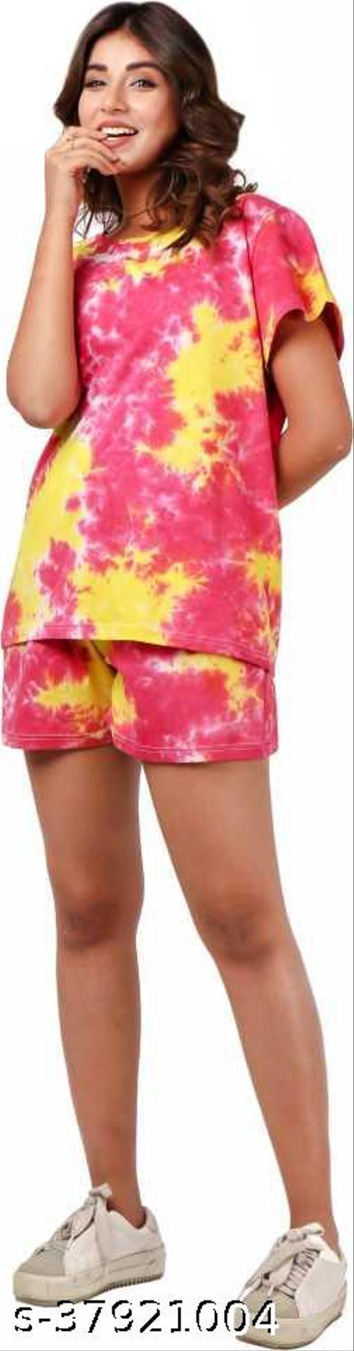 Women Printed Pink, Yellow Top & Shorts Set
