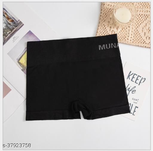 Women Boy Shorts Black Cotton Blend Panty