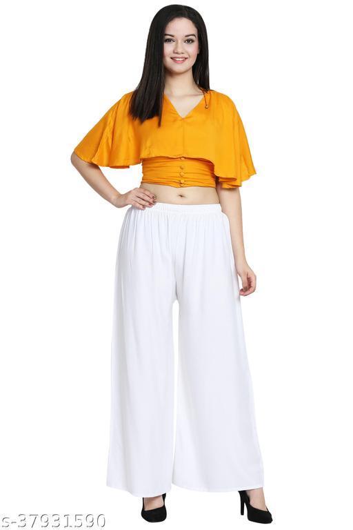 White Color Plain Sharara
