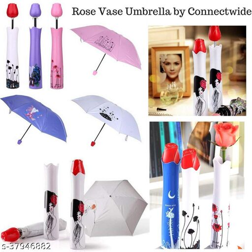 Seetu Rose umbrella Lightweight Waterproof UV Protection Mini Folding Creative Rose Flower Case Canvas Plastic Umbrella with Waterproof and Compact Bottle for Monsoon and Summer(Pack of 01)