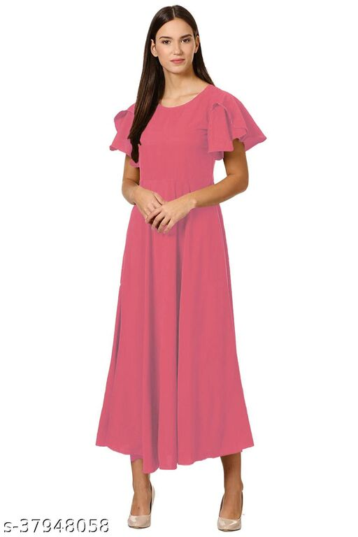 Modern Women's Crepe Ruffle Sleeve Ankle Length A-Line Maxi Dress - Blush Pink