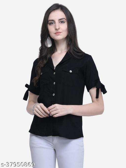 Fbella Women Cotton Rayon Coat Collar Black Shirt with Tie-up Sleeve