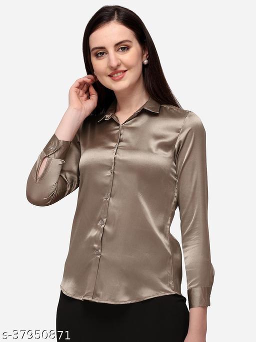 Fbella Women Silk Copper Gold Formal Shirt