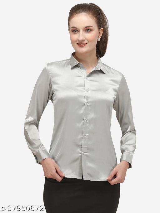 Fbella Women Silk Silver Formal Shirt