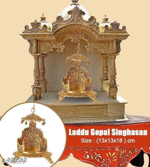 White Metal Thakur Ji Simhasan Gold