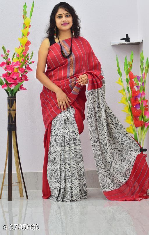 Trendy Khesh Cotton Printed Gurjari Saree