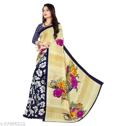 Printed, Daily wear, Georgette Saree with unstitched blouse piece