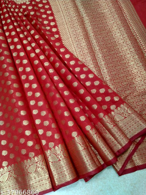 Trendy Banarasi Georgette Silk Woven Sarees Without Blouse