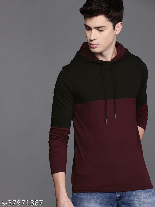 AS Lifestyle Fashionable Round Neck Full Sleeves Black N Maroon Hoodie