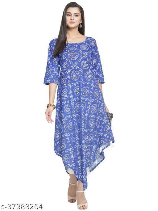 Enchanted Drapes Bandhani Textured Asymmetric Women's Cotton Kurta
