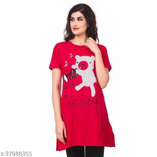 Amandeep Women's Long Casual T-Shirt Nice Day Print
