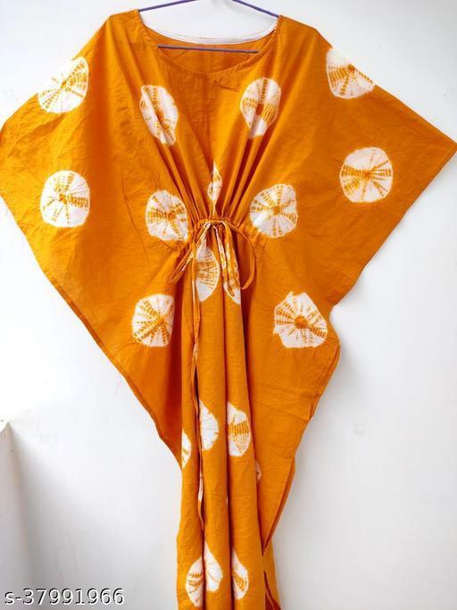 Shivanya Handicrafts Women's Pure hand block Bagru  and indigo / shibori Print    Kaftan Length 52 inch Free size_SHS_050