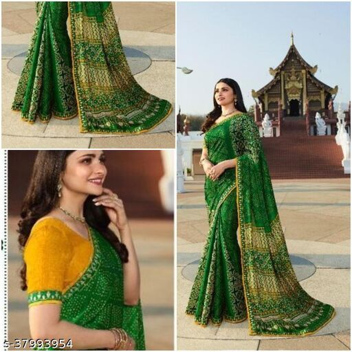 Daily wear Moss Chiffon Bandhni fancy saree with Plain Separate Blouse Piece with best Quality(Bandhni)
