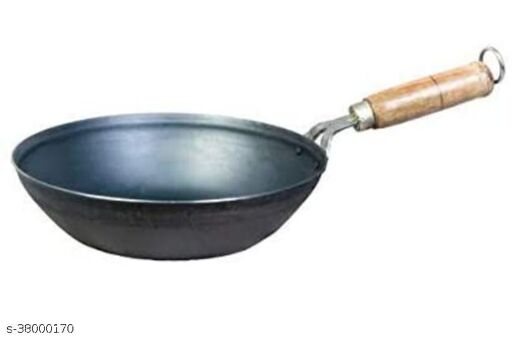 Traditional Pure Iron Induction Base Fry Pan Kadai with Wooden Handle