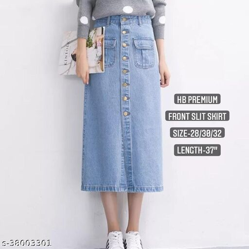Wooden button front slit skirt by High-Buy-LIGHT BLUE