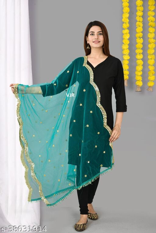 VJR Women's Net Embroidery With Gold Mirror Work Lace Dupatta (2.25 mtr)(Rama Green)
