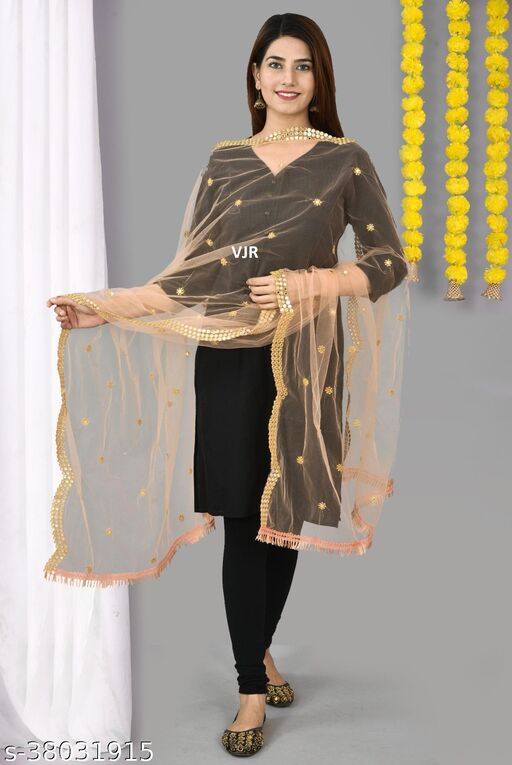 VJR Women's Net Embroidery With Gold Mirror Work Lace Dupatta (2.25 mtr)(Peach)