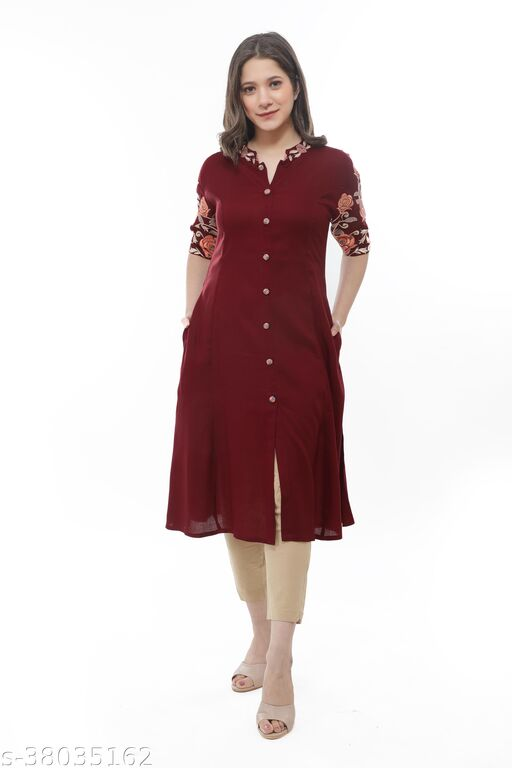 Women Rayon Solid Kurta with Embroidred Sleeves