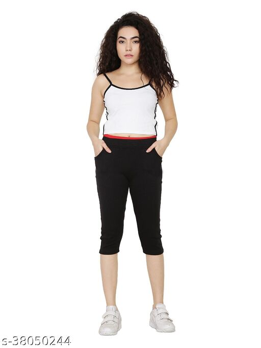 Black Color Capri with Two Side Pockets