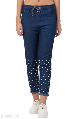 New Casual Pearl Style Jeans For Women