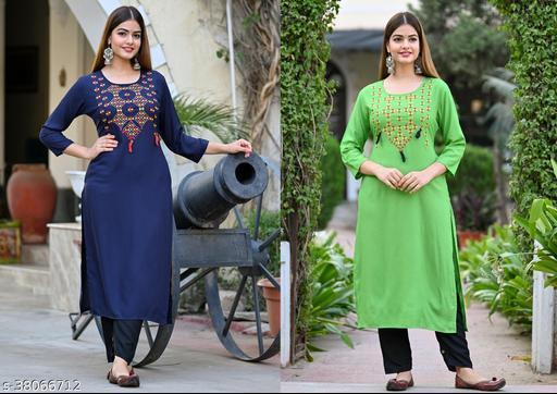 Shidhi two kurti combo of rayon embroidered kurti