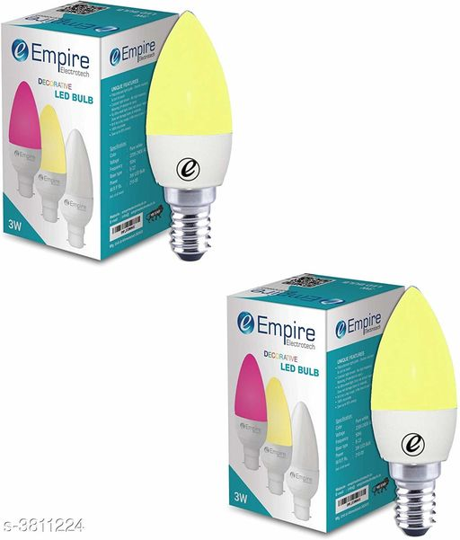 LED Lights & Lamps Colorful Led Light  *Product Type* E14 3W Candle Type Colour LED Bulb - Pack of 2 (Warm White)  *Material * Plastic  *Size * Free Size  *Power* 3 W  *Colour* Warm White  *Description * It Has 2 Pack Of Led Blub  *Sizes Available* Free Size *    Catalog Name:  Advanced Colorful Led Light Vol 12 CatalogID_534660 C103-SC1416 Code: 392-3811224-