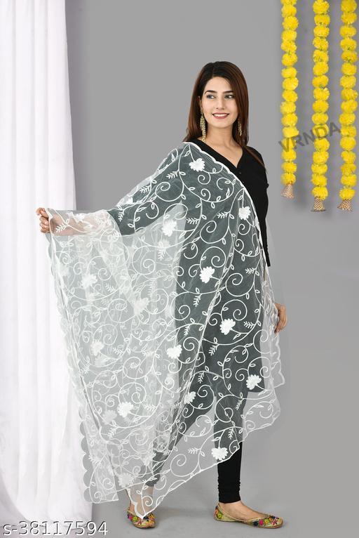 Vrnda Women's Net Hand Embroidery With Side Cut Work Design Dupatta (2.25 mtr)(White)