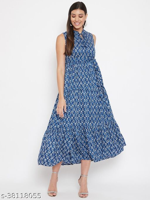 Women Navy Fit and Flare Printed Maxi Dress