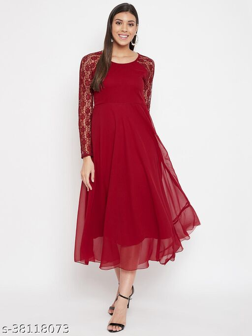 Women Maroon Fit and Flare Maxi Dress