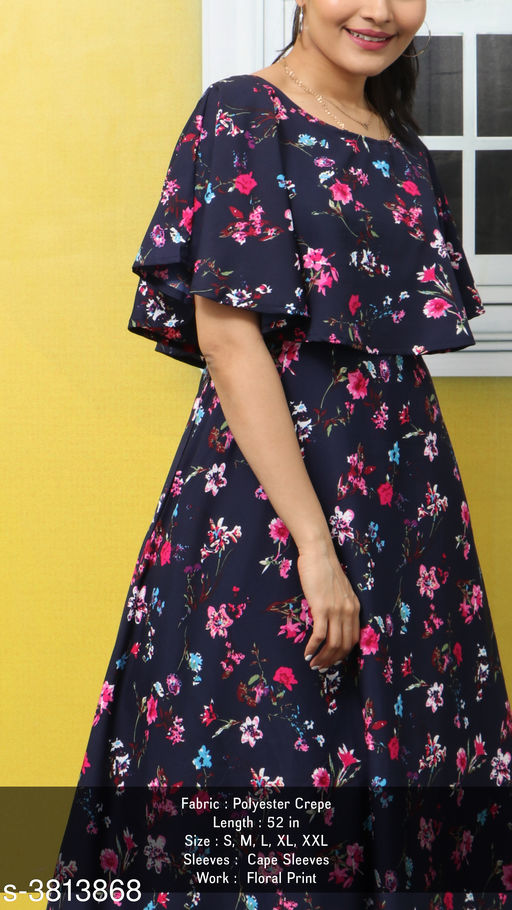 Women's Printed Navy Blue Poly Crepe Dress