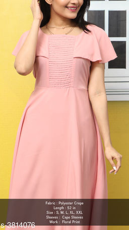 Women's Solid Pink Polyester Dress