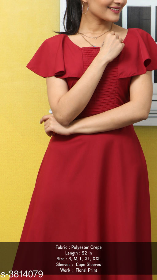 Women's Solid Maroon Polyester Dress